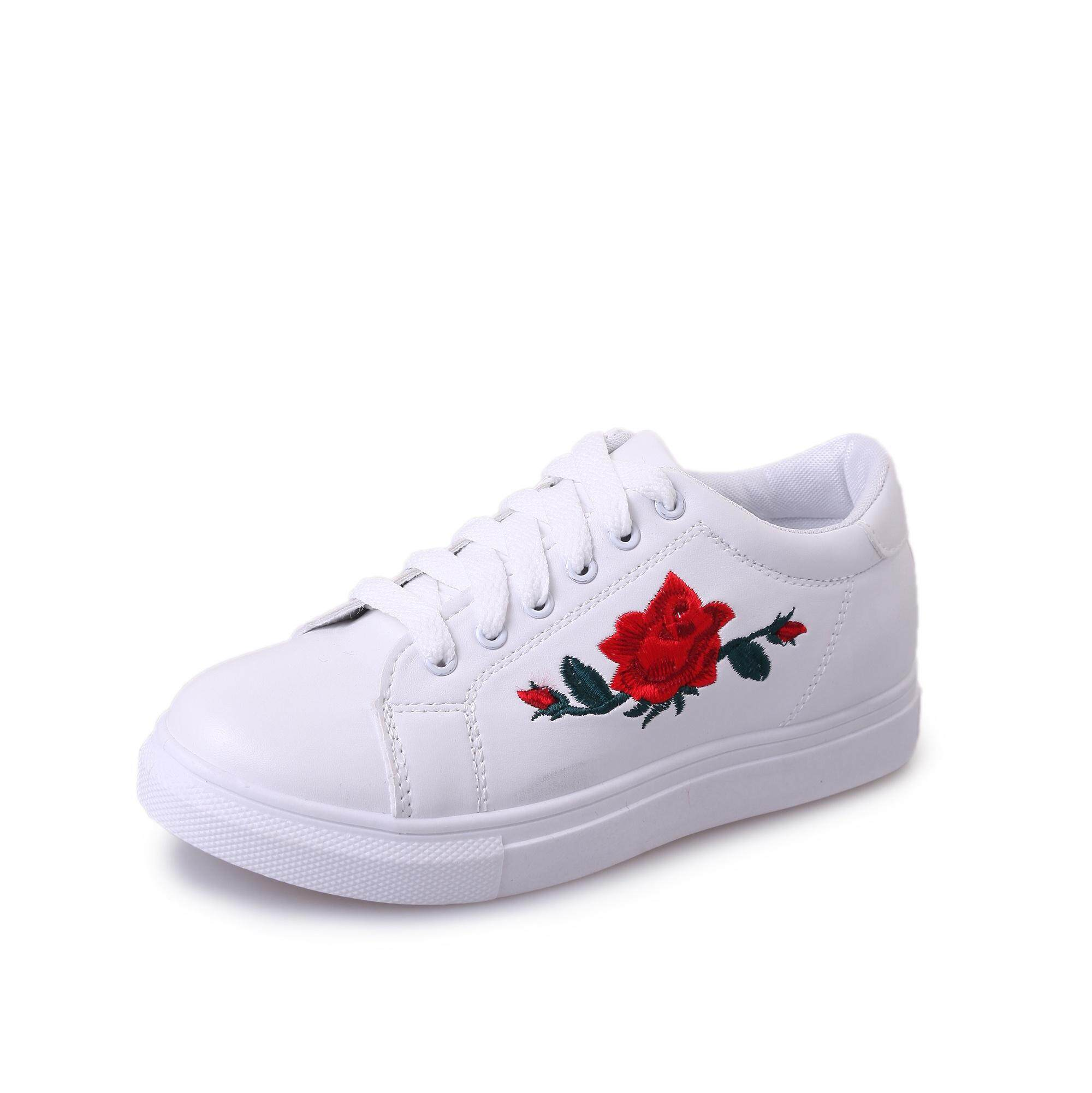 74567af8e9 1015 (70 B2) Rose Embroidery Sneakers Casual Women Flat Shoes (FREE GIFT  WITH