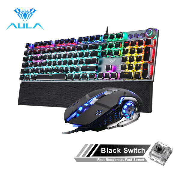 AULA  Mechanical Gaming keyboard and mouse Combo Black/Blue Switch for PC Laptop Game(F2088+S20) Singapore