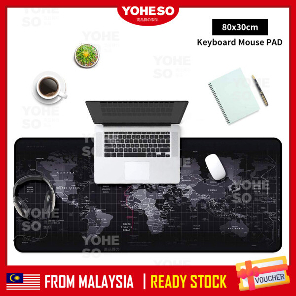 YOHESO Non Slip Extended XXL Gaming World Map Mouse Pad Water Resistant Rubber Base Malaysia