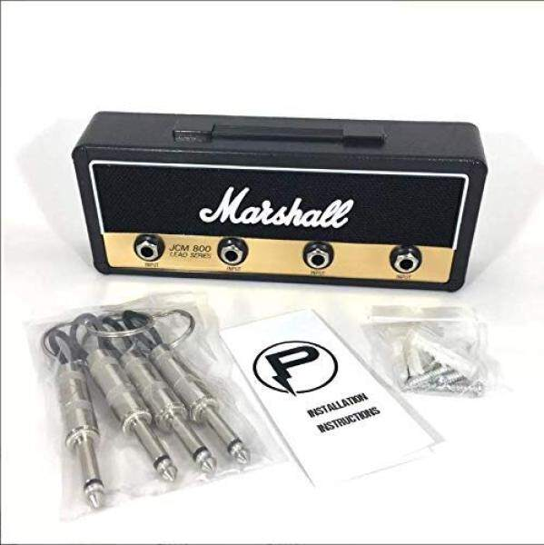 Marshall Jack Rack- Wall mounting guitar amp key hanger. Includes 4 guitar plug keychains and 1 wall mounting kit. Easy installation.