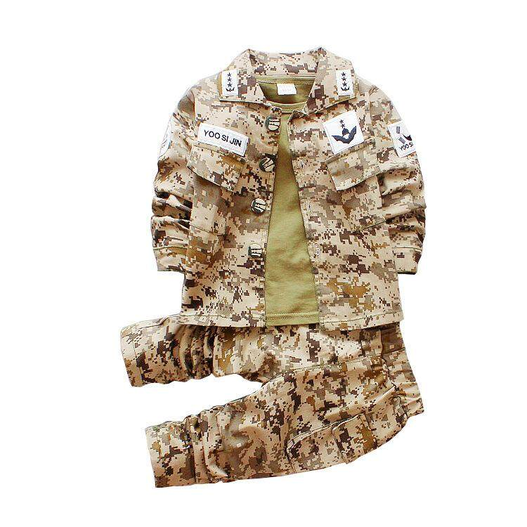 Song Joong Ki Kids Camouflage Army Uniform Kids Boys Clothing Set 3PCs Teenager Boys Jackets Cosplay Party Military Costumes