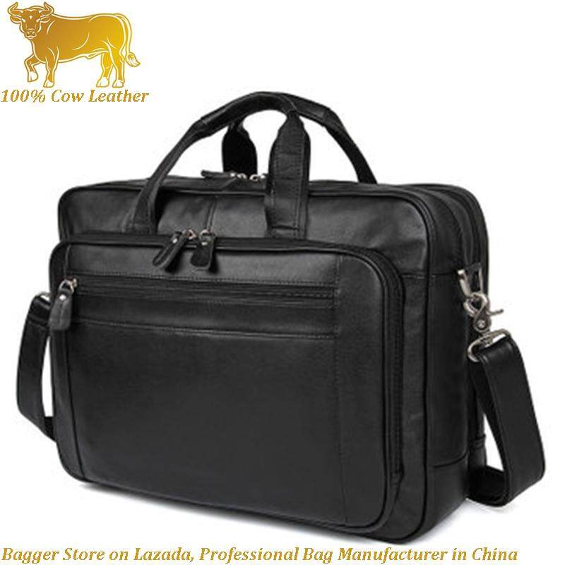 New Cow Leather Cowhide European American Style Mens Business Briefcase Large Handbag 17 Inch Computer Bag Bags For Men