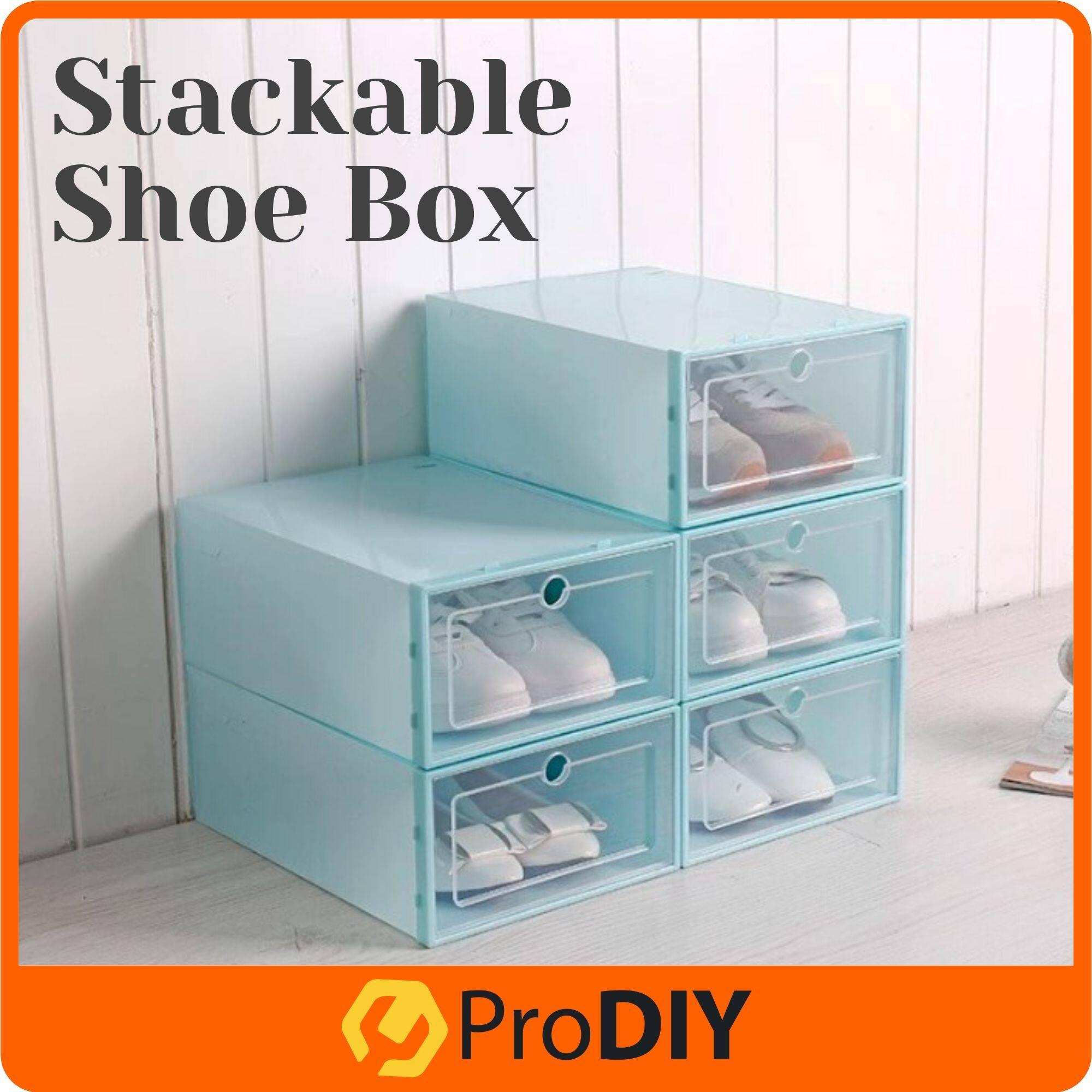 Heart Foldable Plastic Transparent Shoe Box Storage Organizer Stackable Boxes