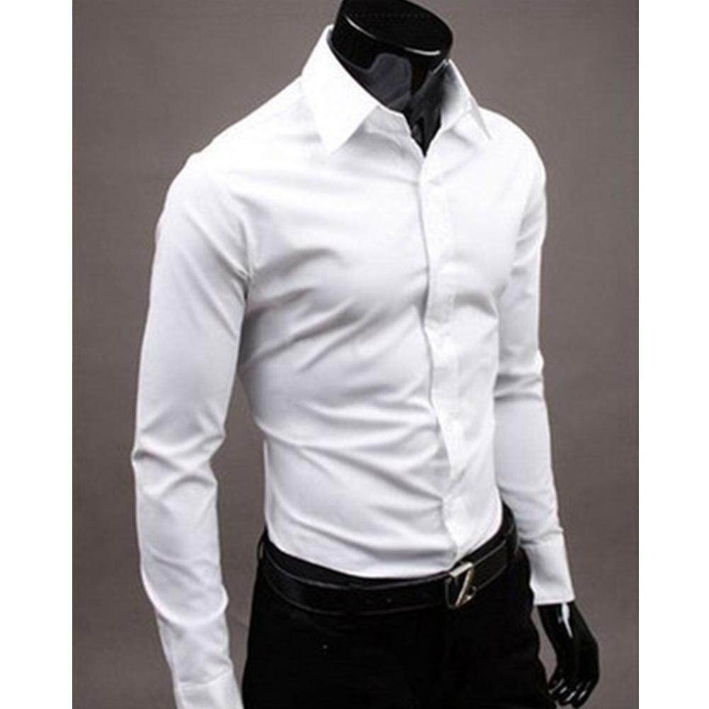 844a689f68d3 Spring Summer Fashion Men Shirts Pure Color Long Sleeve Slim Fit Men's  Shirts Male Social Masculina