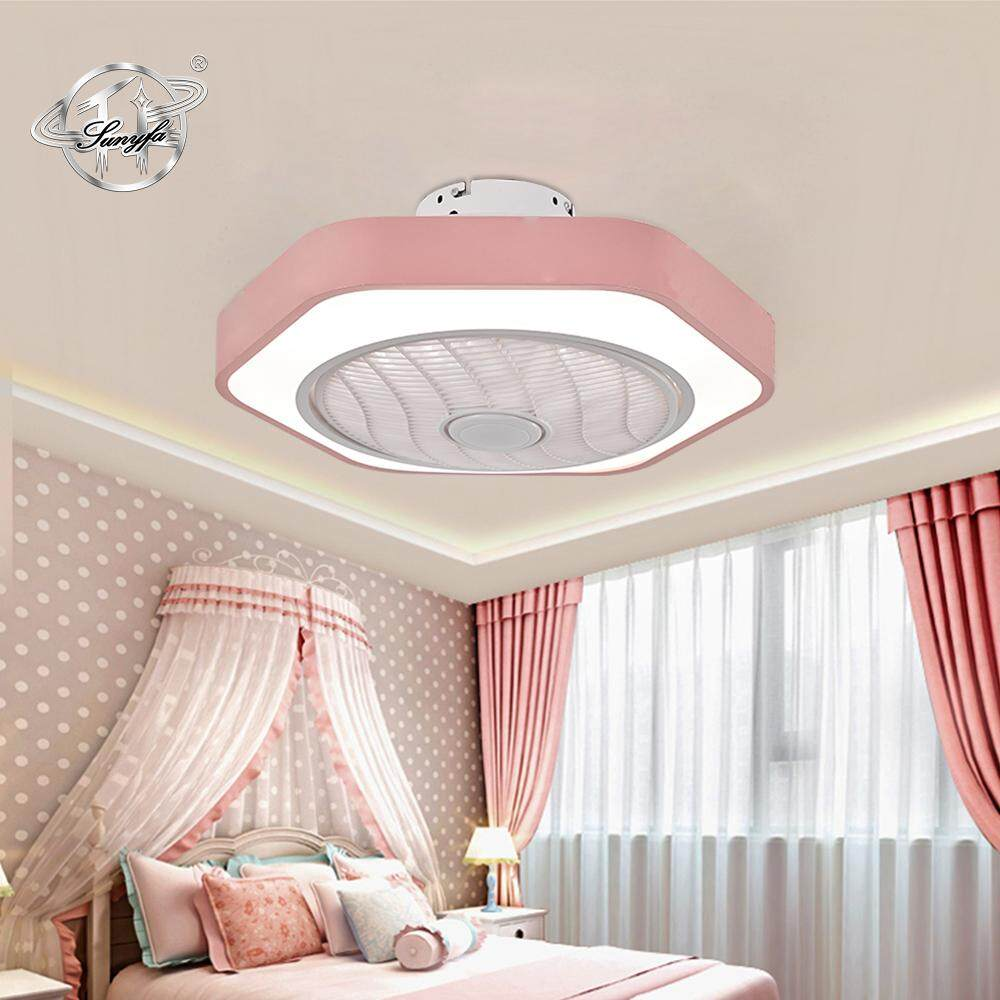 Sunyfa Ceiling Fan with LED Light 80W C016 AC220V Three Speed Fan Lamp Indoor Lighting Ceiling Light With Remote Control Dimmable LED ceiling light Home Decor for Bedroom Livingroom Kitchen Blue Pink White fan for kids