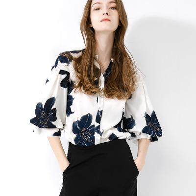 41be6b42ce9c36 Lain Women s chiffon shirt seven-point sleeves summer new top loose cover  belly lantern sleeve