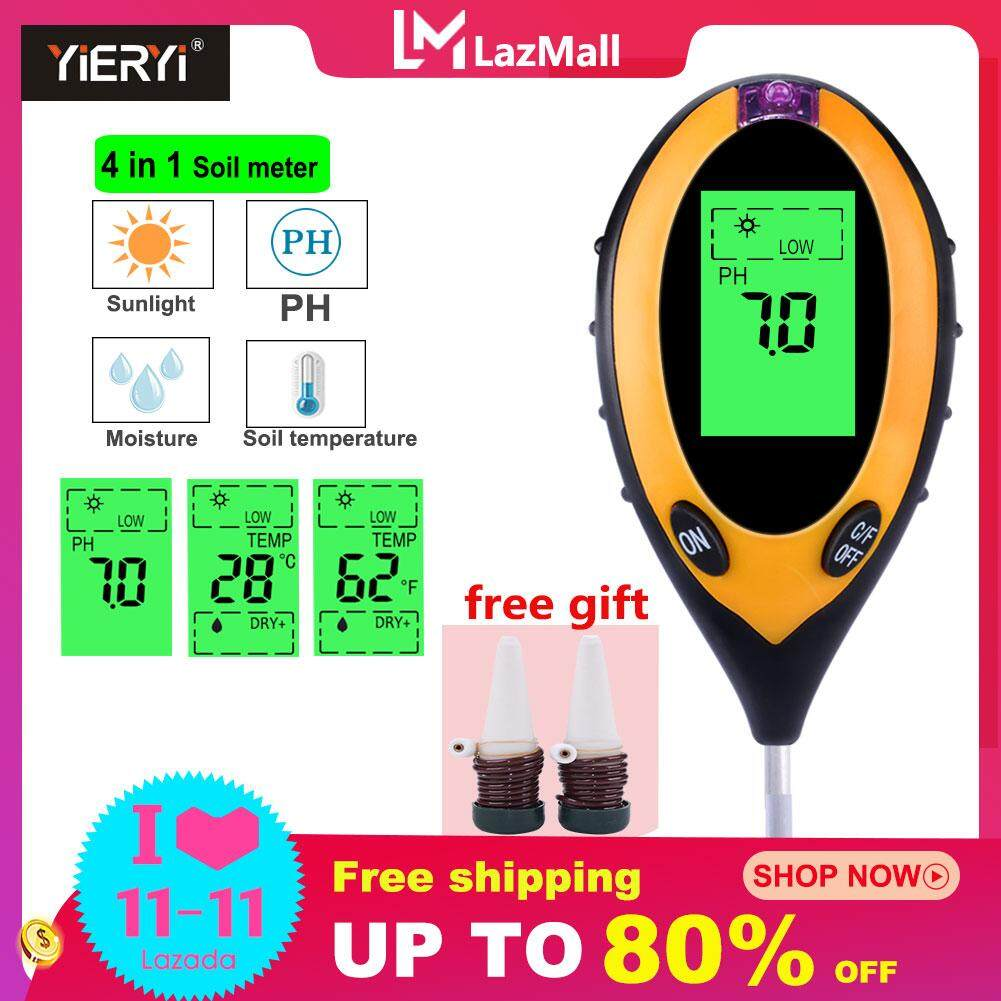 yieryi 4 in1 Plant Soil PH Meter Moisture tester light Analyzer Temperature Tester 5 in 1 Sunlight Tester Garden Plant Kits Instrument