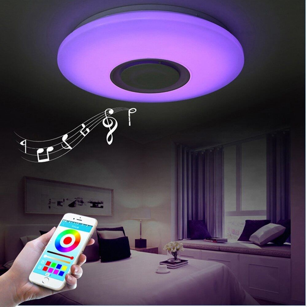 Lampu Plafon LED Nordik, Lampu Langit-langit untuk Kamar Tidur, Lampu Makan Dalam Ruangan, Lampu Warna-warni Dapat Diredupkan, Speaker Bluetooth