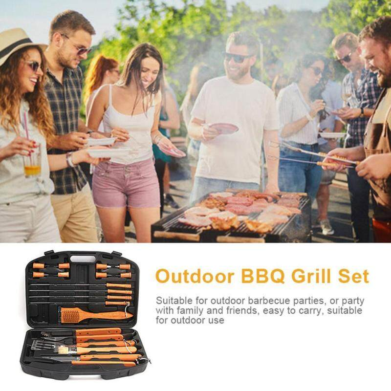 Rodeal 19pcs BBQ Tool Set, Outdoor Multi-Functional Stainless Steel Bakeware with Plastic Box