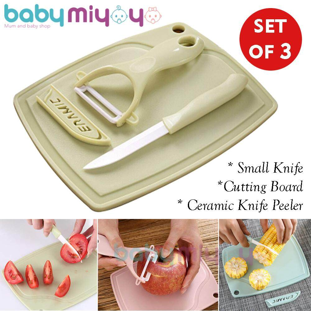 Baby MiyOyO Set of 3 Ceramic Knife Peeler, Small Knife and Cutting Board Pisau Ceramik image on snachetto.com