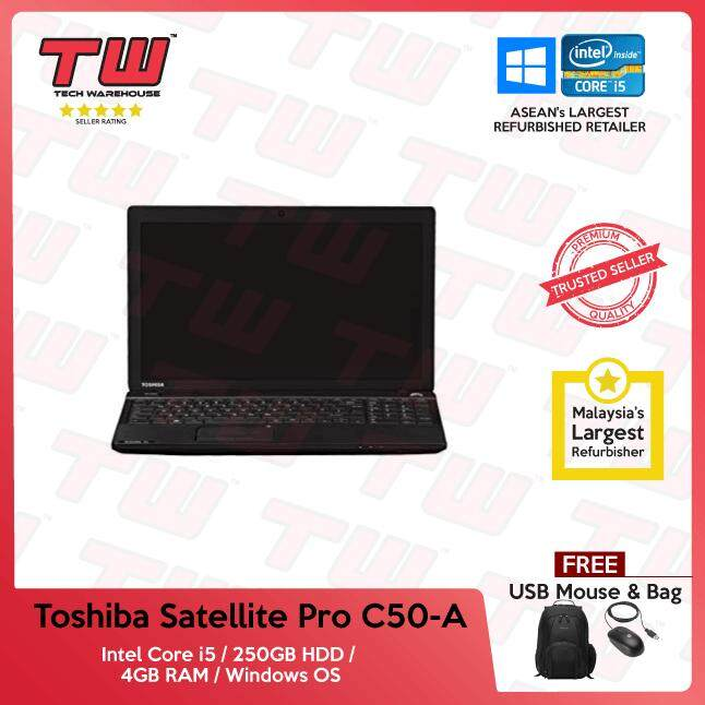 Toshiba Satellite Pro C50-A Core i5 / 4GB RAM / 250GB HDD / Windows OS Laptop / 3 Months Warranty (Factory Refurbished) Malaysia