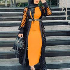 ชีฟองRamadan Eid AbayaดูไบKaftanฮิญาบมุสลิมเสื้อคาร์ดิแกนKimono Mujer Jilbab Caftan Abayasสำหรับผู้หญิงตุรกีอิสลามเสื้อผ้า
