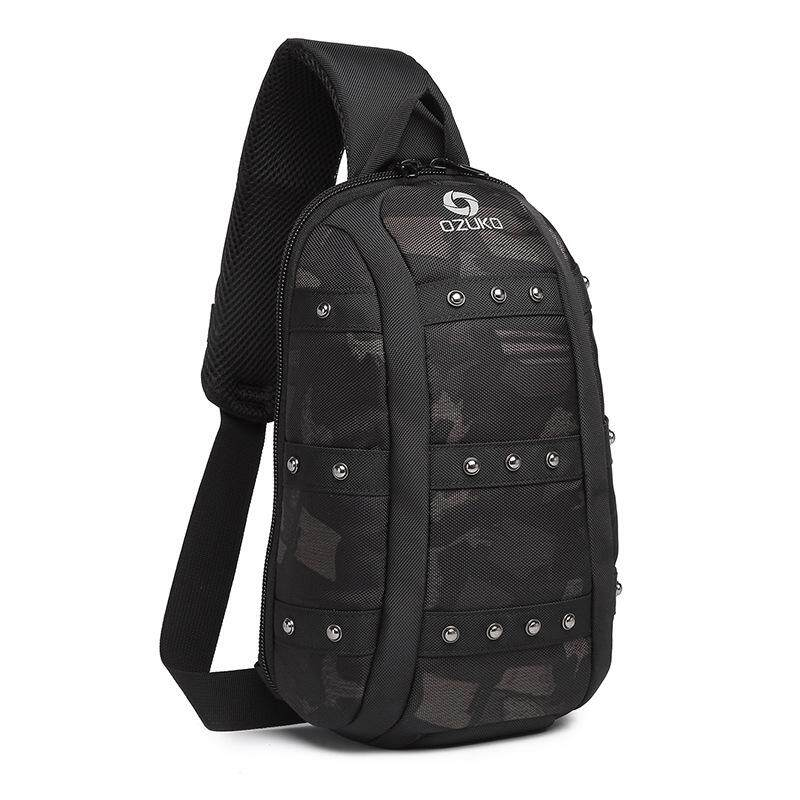 OZUKO New Shoulder Sling Bag Fashion Men Chest Bag Waterproof  Sports Crossbody Bag