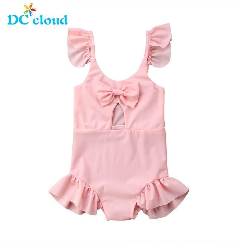 feb1dc7d2 2019 Brand New Toddler Infant Kids Girls Bikini Swimwear Bathing Swimsuit  Bow Swimming Costume Ruffled Solid
