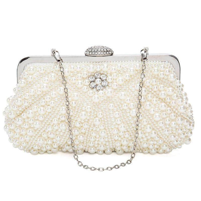Women Pearl Clutch Bags Evening Bag Purse Handbag For Wedding Chain Bag For Dinner Party, White