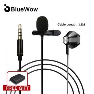 BlueWow JK-09 Tie Clip Lapel Lavalier Di Chuyển Cuộn Dây Microphone Với Tai Nghe Cho Âm Thanh Và Video Ghi Vlog thumbnail