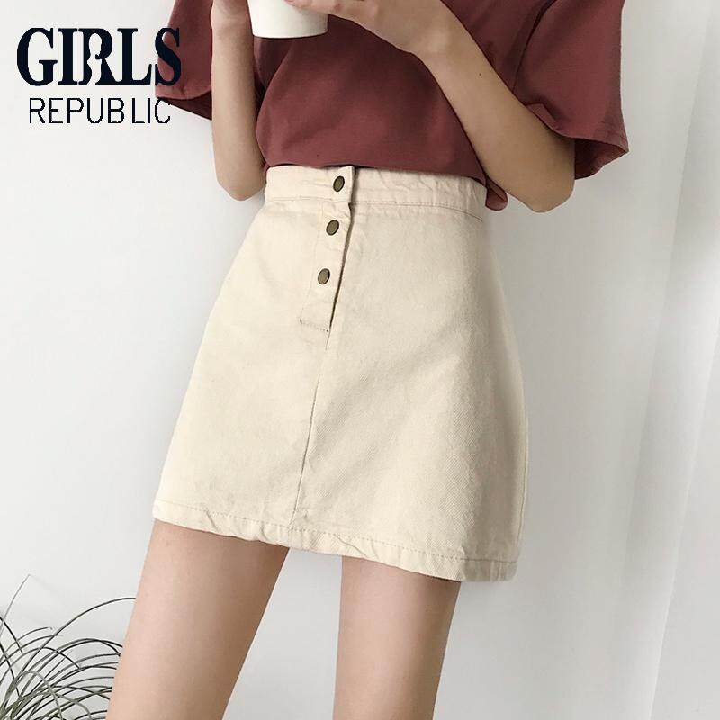 3ff598ca53 Girls Republic lowest price skirt female Korean version of the high waist a  word skirt ins