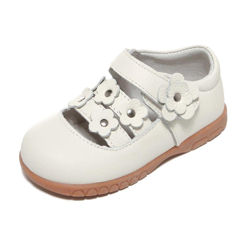Nữ Giày Da Thật Trắng Mary Jane Hoa Nhỏ Giày Trẻ Em Giày Trẻ Nhỏ Cho Lễ Rửa Tội Trang Phục Trang Trọng Cưới giá rẻ
