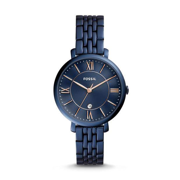 Original Fossil Womens Jacqueline Blue Dial 36mm Rose Gold Hand Watch with 2 year warranty ES4094 Malaysia