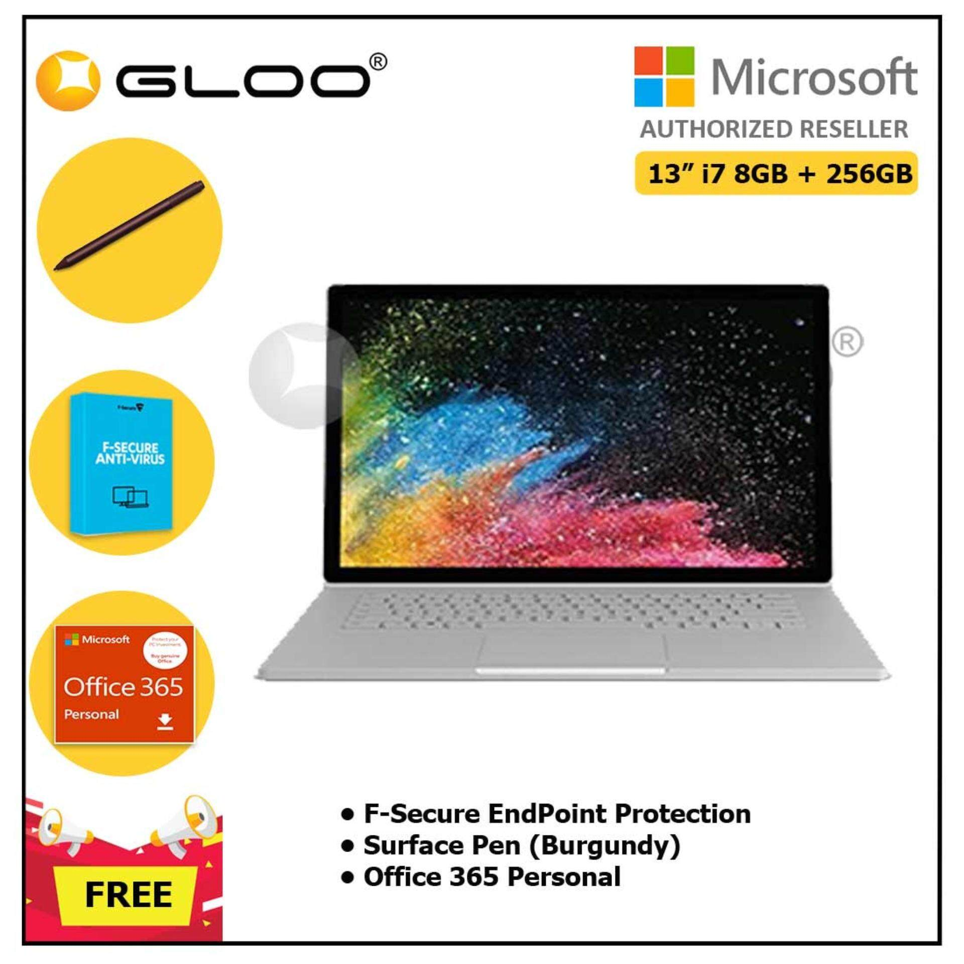 Surface Book 2 13 i7/8GB 256GB + F-Secure EndPoint Protection + Office 365 Personal ESD + Pen Burgundy Malaysia