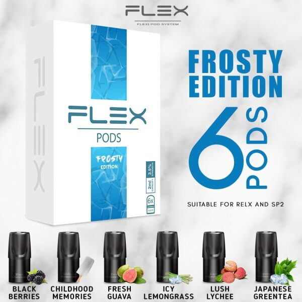FLEX Flavor Pod 2ML/[6pcs In 1 Box] Compatible With Relx and SP2 ---- FROSTY EDITION Malaysia