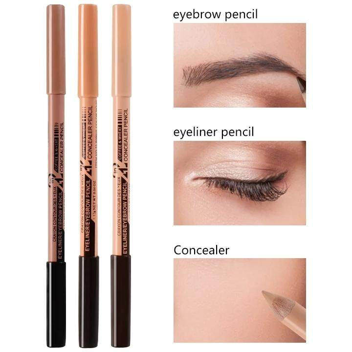 ef5bada2144 MN 2IN1 EYEBROW MakeUp Pencil Color Corrector Double-ended Waterproof  Concealer Eyebrow
