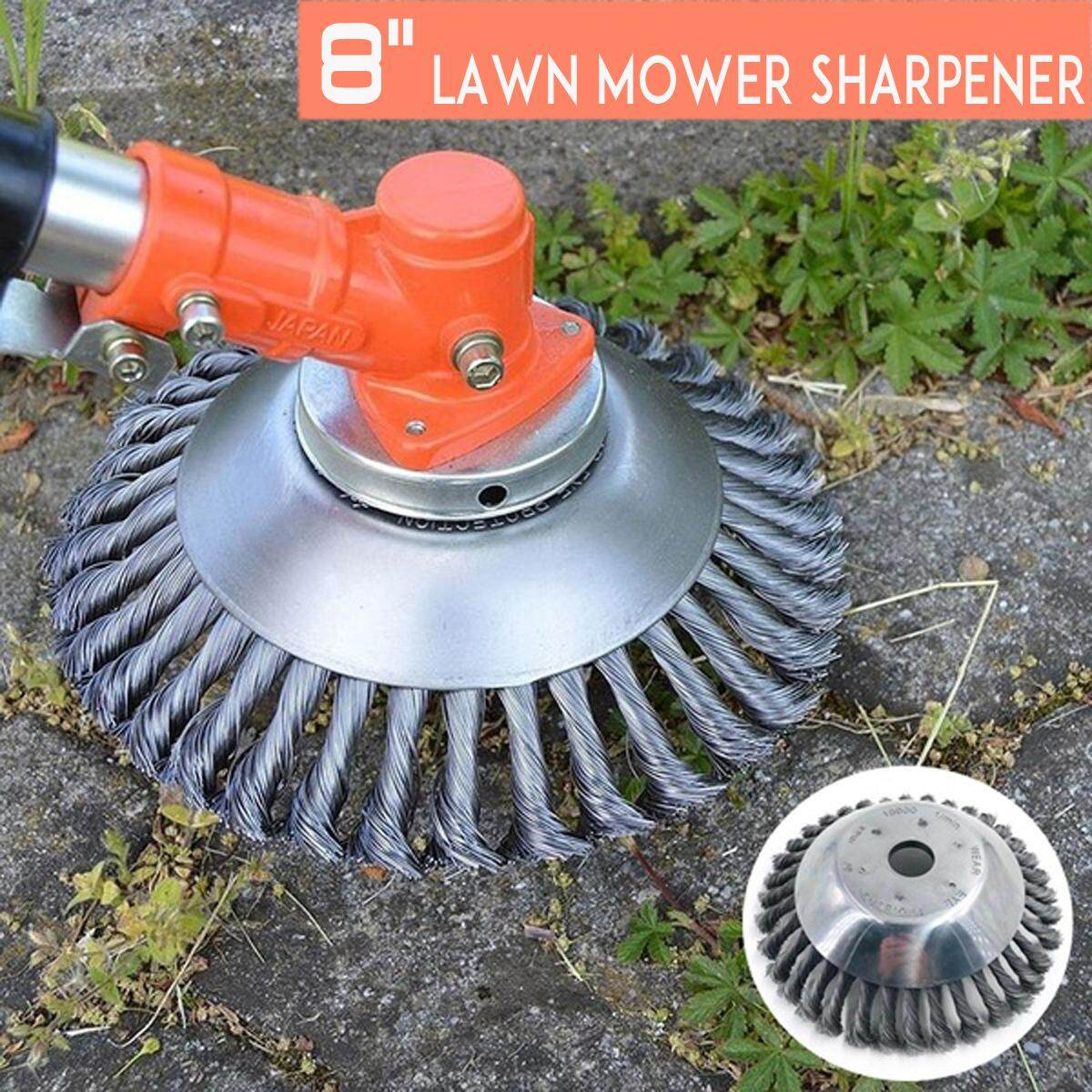 8 20cm W-ire Wheel W-eed Brush Lawn M0wer Grass Trim-mer B-rush Head Tools