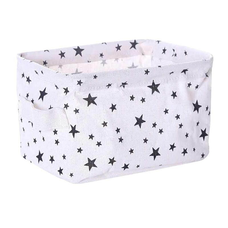 Ledmomo Kotak Penyimpanan Kanvas Keranjang Penyelenggara Lipat Desktop Tempat Penyimpanan Untuk Buku Merias (lima Menunjuk Bintang Pola) By Ledmomo.