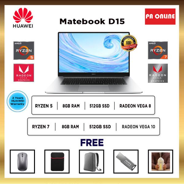 Huawei MateBook D 15 D15 D14 -AMD Ryzen 5/Ryzen 7 /8GB RAM /512GB SSD /15.6 FHD IPS /AMD Radeon Vega Graphics /Win 10 /2 Years Malaysia