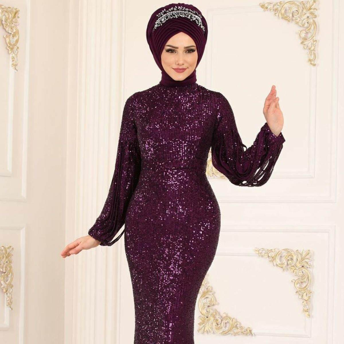 Women New Fashion Abaya Sequins Evening Dress Muslim Kaftan Hijab Burqa Lace Long Sleeve Islamic Maxi Dress Without Hijab Loose Sequins Embroidery