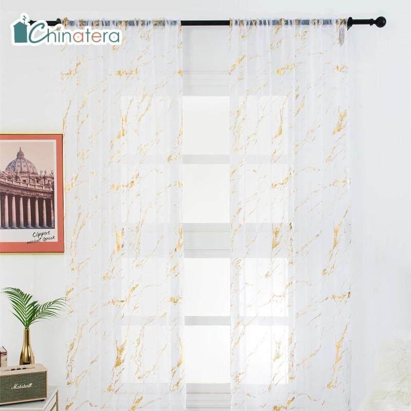 [Chinatera] 1 PC Phong Cách Hiện Đại Long Lanh In Rèm Cửa Bằng Vải Tuyn Phòng Ban Công Cửa Sổ Màn Hình Polyester Rèm Treo Trang Trí Nội Thất
