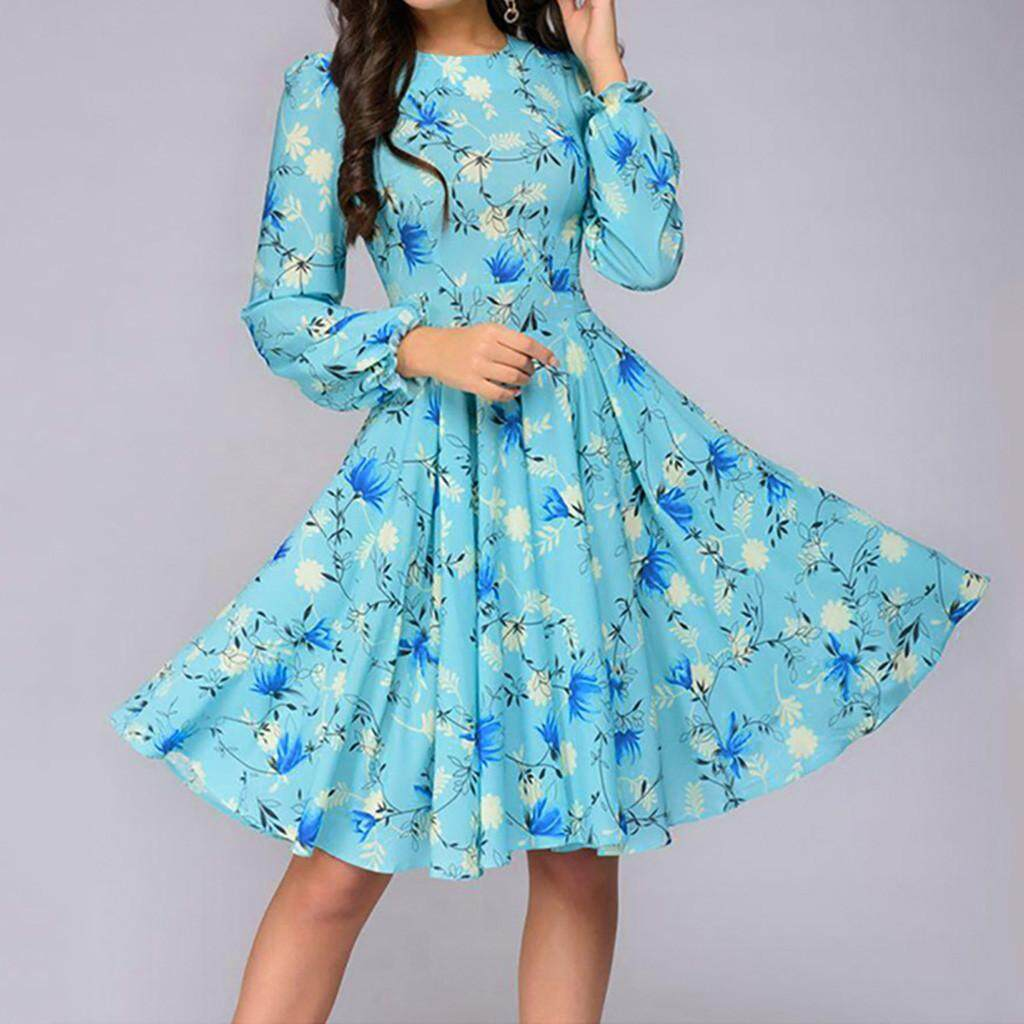 bbe2bce45d3d Qusaystore Women Printing A-line Elegant Ruffles Long Sleeve Knee-Length  Vintage Dress