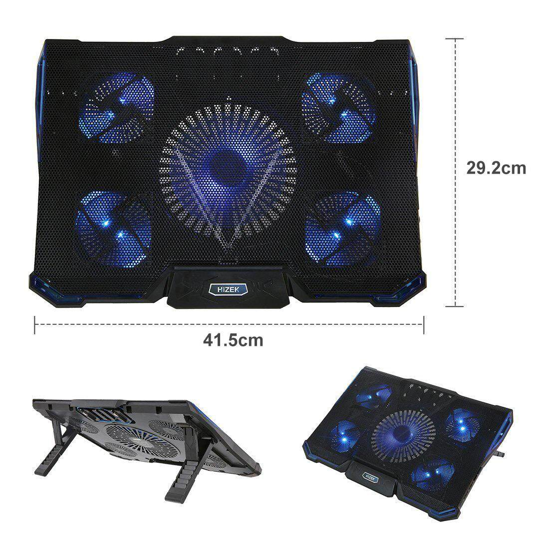 Hizek 5 Fans Laptop Cooling Pads,Ultra-Slim Laptop Cooler Pads Chill Mat with 5 Quiet Fans USB Powered Adjustable Mounts Stand with LED Lights for 14 - 17 Inch Laptops Malaysia