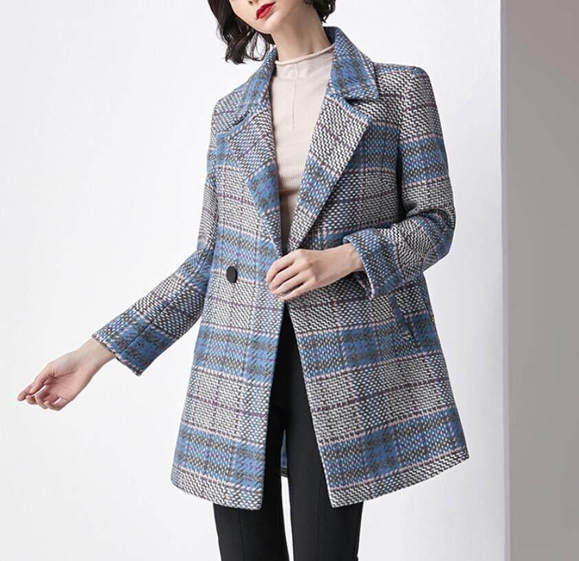 1ad4ec5c4fc8 High Quality Wool Coats Vintage Elegant Autumn Winter Women Blend Coat Hit  Color Plaid Long Sleeve