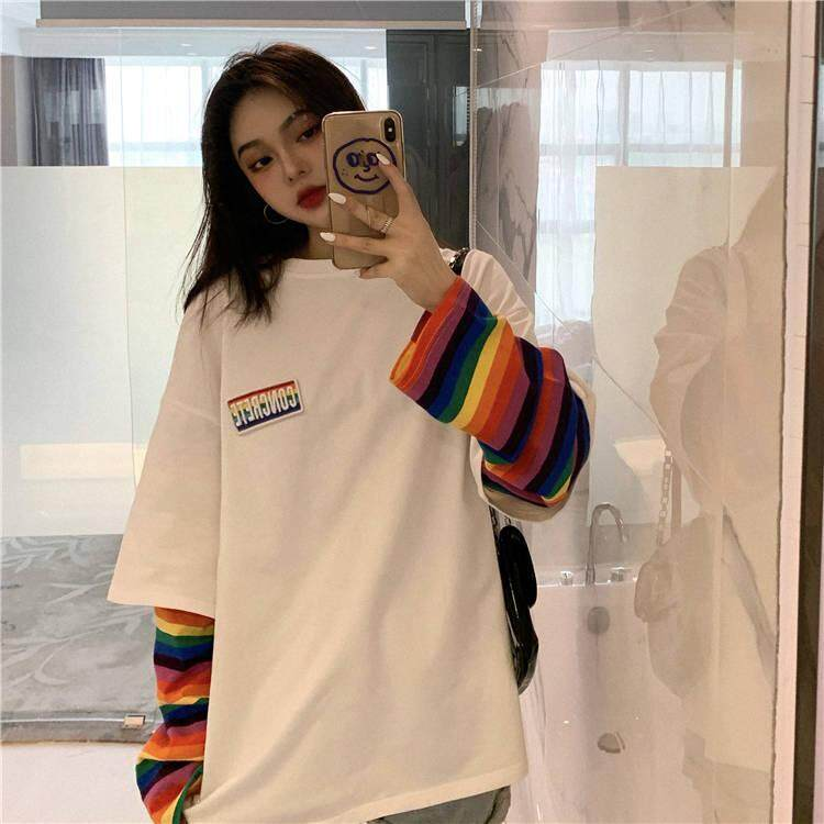 Korean Outfit For Women Oversized Shirt Women Female Colorful Striped Fake Two Piece Top Loose Round Collar Long Sleeve T Shirt Korean Style Versatile Ladies Shirt 2019 Autumn New Lazada Ph