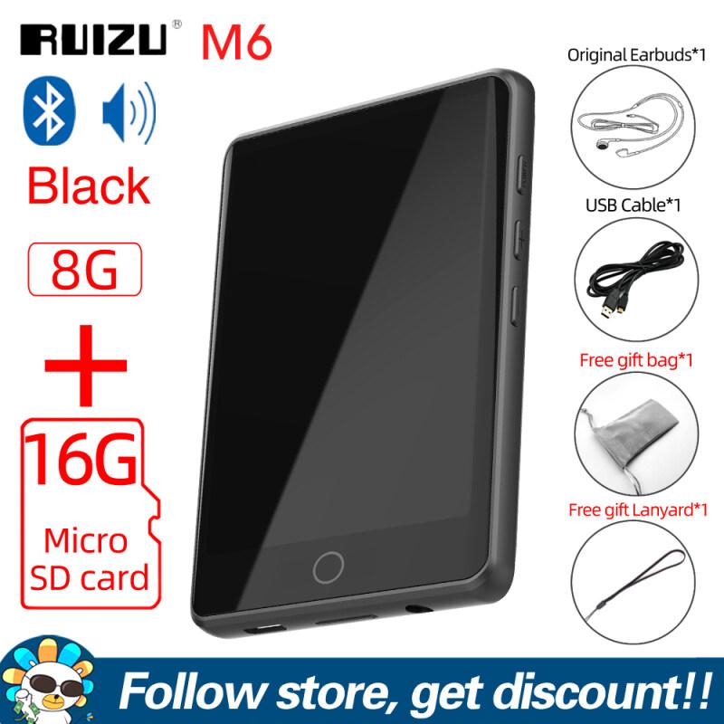 RUIZU M6 Máy nghe nhạc MP3 Bluetooth full màn hình cảm ứng, Máy nghe nhạc MP3 Hifi di động mini di động có loa tích hợp hỗ trợ sách điện tử Walkman Radio FM ghi âm giọng nói, máy đếm bước chân hỗ trợ mở rộng bộ nhớ lên đến 128GB - INTL