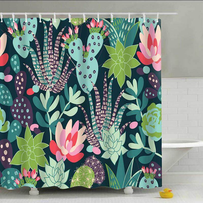 Sea Turtle Print Waterproof Shower Curtain Polyester Fabric Bath Curtain Octopus Washable Home Bath Decor Curtains With 12 Hooks