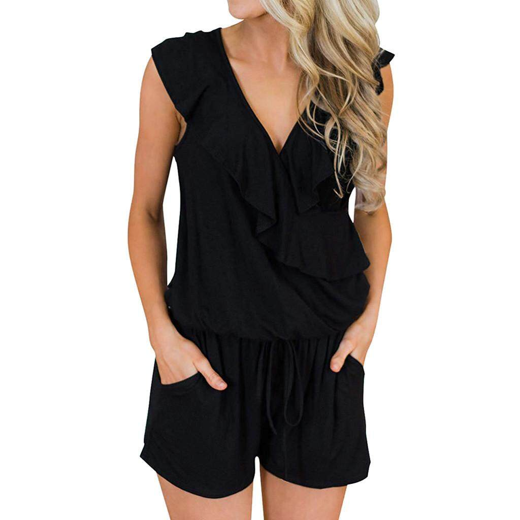Women Casual Sleeveless V Neck High Waisted Wide Playsuits Beach Playsuits