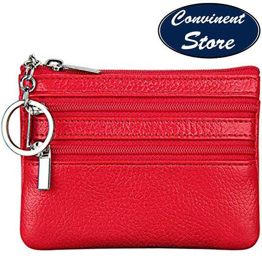 76391a92dff4b5 ✅Genuine Leather Coin Purse Change Purse With Key Ring,Soft Leather Double  Zipper Coin
