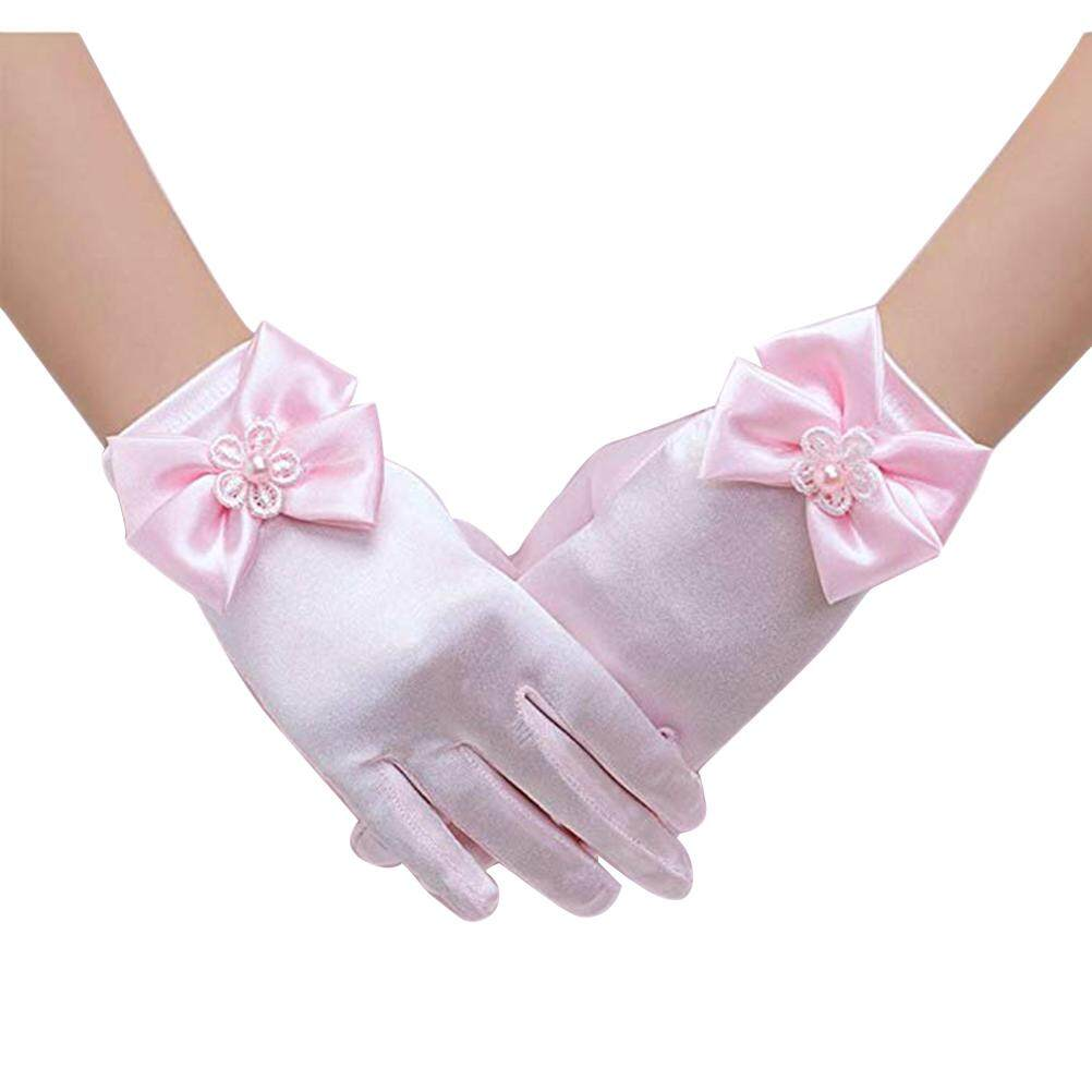 ed592999a4 Kids Girls Gorgeous Satin Fancy Gloves for Special Occasion Dress Formal  Wedding Pageant Party Short Girls