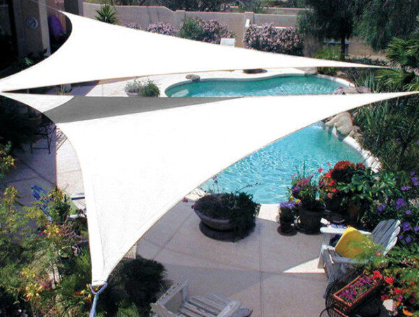 Triangle Sunshade Sail White Color Many Sizes Waterproof Oxford Fabric 90% UV Blocking Awning Canopy Outdoor Garden Sun Shelter Protection