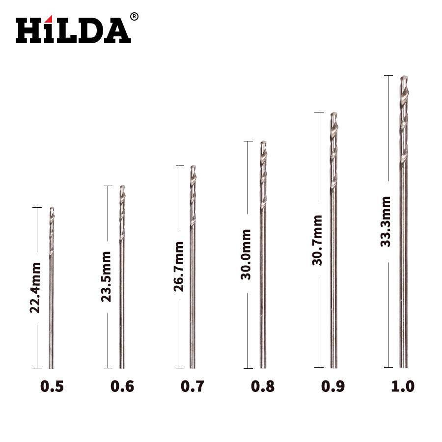 HILDA 120PCS HSS Thẳng Vít Mũi Khoan Xoắn Óc Chó Kim Cương Bồ Đề Ngọc Trai Hạt Bấm Lỗ Nhỏ Li Ti Chút 0.5 0.6 0.7 0.8 0.9 1.0mm