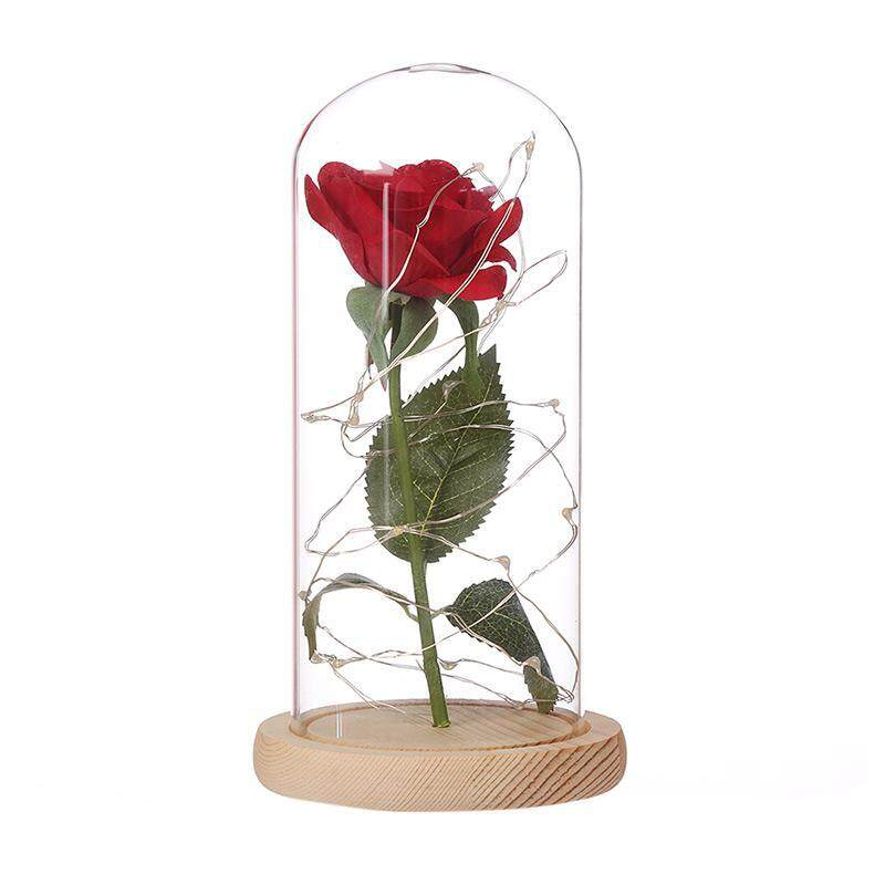 Bumblebaa Red Rose Flower LED Light in Glass Cover, DIY Handmade Romantic Enchanted Love Forever Gift for Wedding, Valentines Day, Anniversary, Birthday