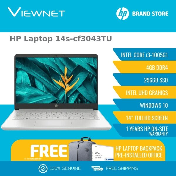 HP Laptop 14S-CF3042TU / 14S-CF3043TU  i3-1005G1/14 HD BV LED SVA 220 slim NWBZ/4GB/256GB SSD/UMA/W10 Home/ FREE PRE-INSTALLED OFFICE H/S LIFE TIME Malaysia