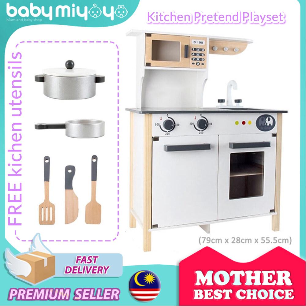 Lazchoice Baby Miyoyo European Wooden Kitchen Playset Kids Pretend Play Cooking Toy Permainan Dapur Kanak Kanak Lazada
