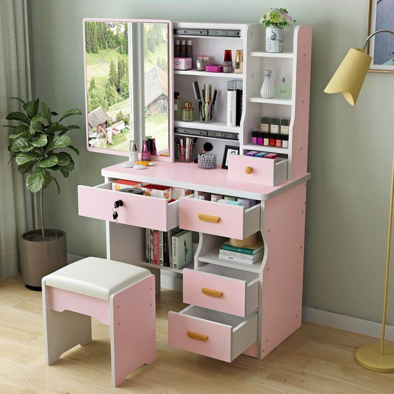 80cm in Width Vanity Set, Dressing Table with HD Push-pull Mirror and Stool, Big Drawers, Shelves for Brushes Nail Polishes and Cosmetic, Easy Assembly