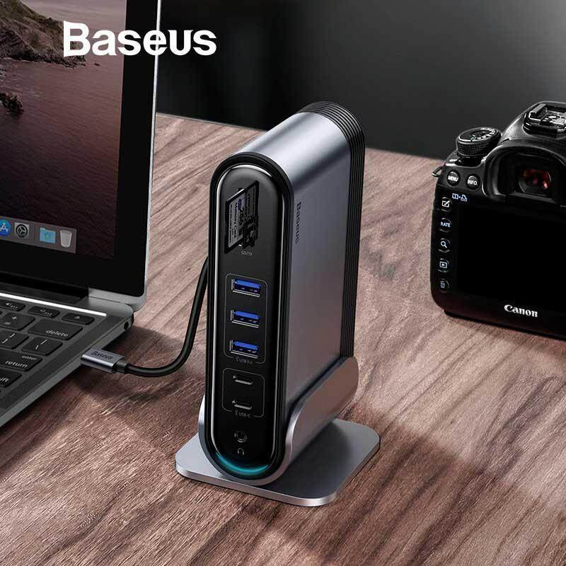 Baseus USB C HUB Type C to Multi HDMI USB 3.0 with Power Adapter Docking Station for MacBook Pro RJ4