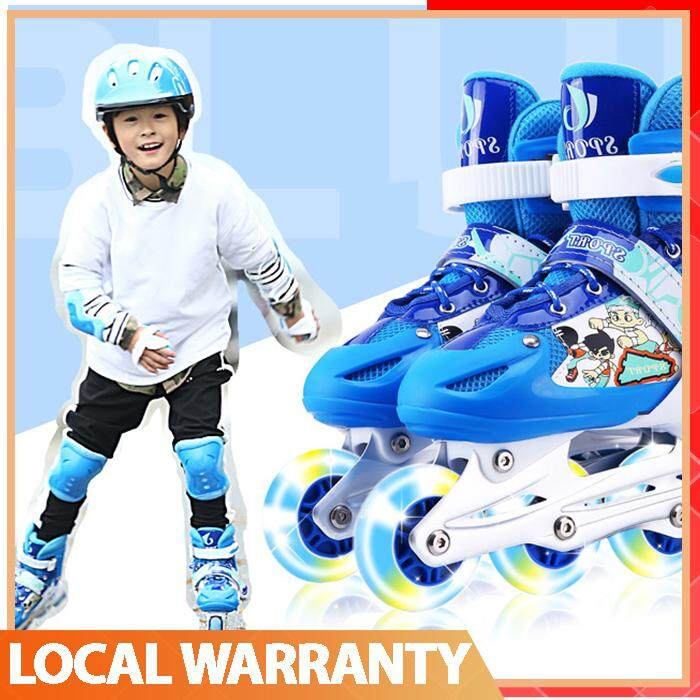 【high Quality】full Set Adjustable Straight Children Stable Flashing Skate Roller (full Set Protective Included) By Superway.