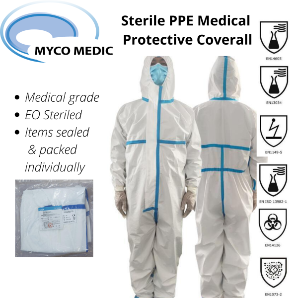 Sterile PPE Medical Protective Coverall Jumpsuit Unisex