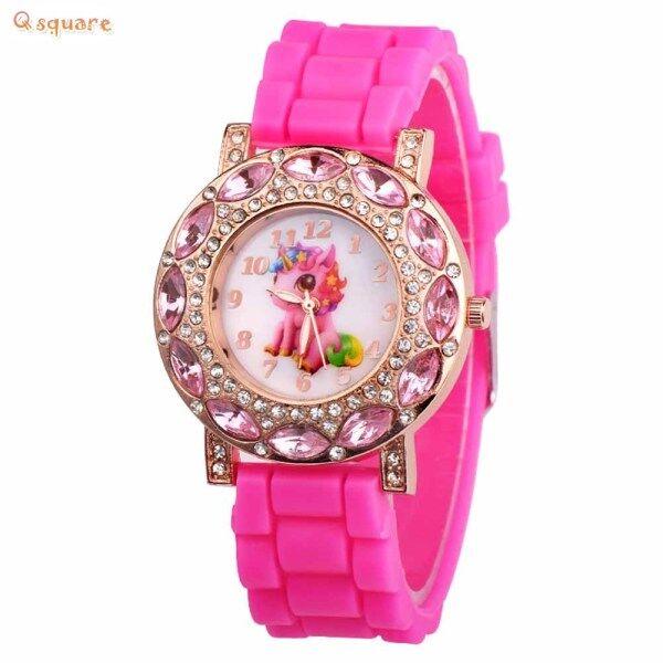 Q Square Children Girl Wrist Quartz Watch Round Durable Unicorn Pattern Cute Casual Gift Malaysia